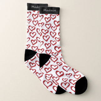 Hearts Pattern custom name socks