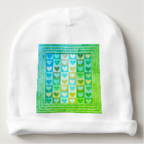Hearts Pattern In Blue And Green Baby Beanie