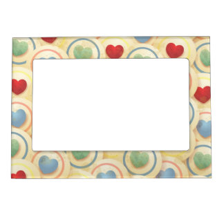 Hearts pattern in vintage style magnetic photo frame