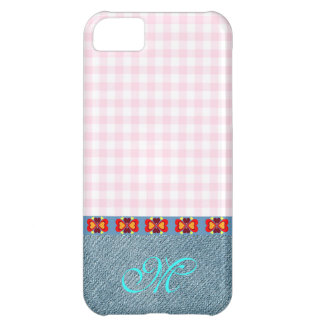 Hearts Pattern Initial Monogram Girly Denim Pink iPhone 5C Cover