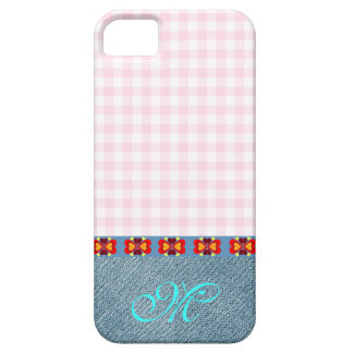 Hearts Pattern Initial Monogram Girly Denim Pink iPhone SE/5/5s Case
