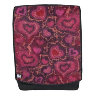 """""""Hearts"""" pattern, red, burgundy & pink, fiber art Backpack"""