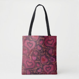 """Hearts"" pattern, red, burgundy & pink, fiber art Tote Bag"