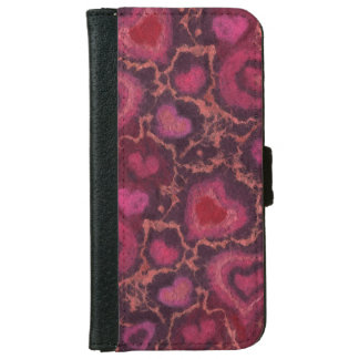 """""""Hearts"""" pattern, red, burgundy & pink, fiber art Wallet Phone Case For iPhone 6/6s"""
