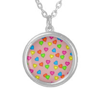 hearts pattern silver plated necklace