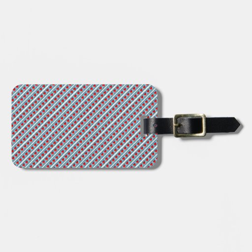 Hearts pattern stripes luggage tag