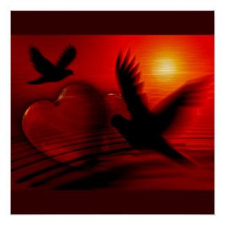 Hearts Peace Love Birds Destiny Wedding Shower Poster