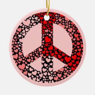hearts peace ornament