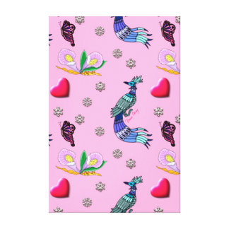 Hearts & Peacocks - Pink & Cyan Delight Stretched Canvas Prints