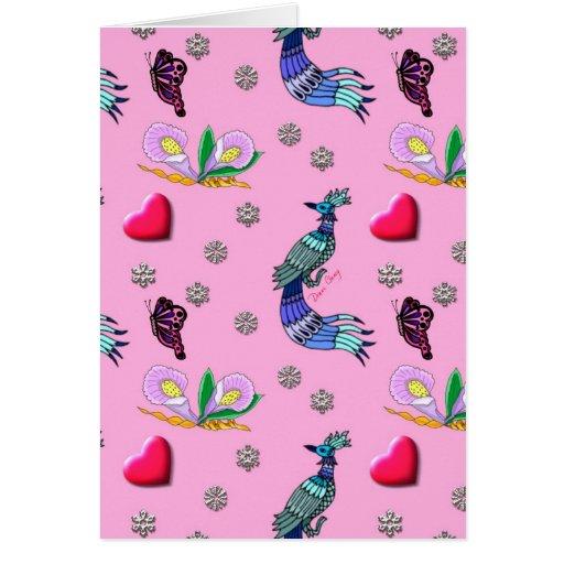 Hearts & Peacocks - Pink & Cyan Delight Card