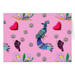 Hearts & Peacocks - Pink & Cyan Delight Cards