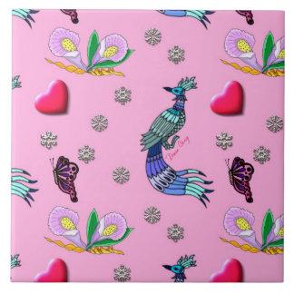 Hearts & Peacocks - Pink & Cyan Delight Ceramic Tile