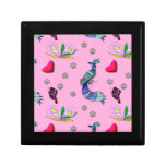 Hearts & Peacocks - Pink & Cyan Delight Jewelry Boxes