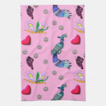 Hearts & Peacocks - Pink & Cyan Delight Kitchen Towels