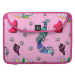 Hearts & Peacocks - Pink & Cyan Delight Sleeves For MacBook Pro