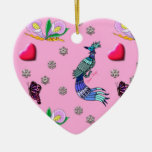 Hearts & Peacocks - Pink & Cyan Delight Christmas Ornament