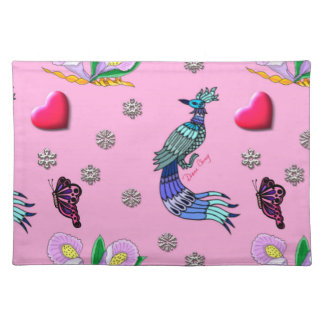 Hearts & Peacocks - Pink & Cyan Delight Cloth Placemat