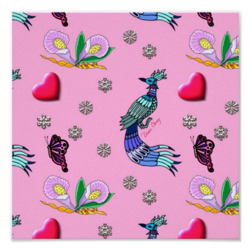 Hearts & Peacocks - Pink & Cyan Delight Poster