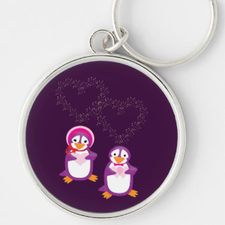 Hearts & Penguins Keychain