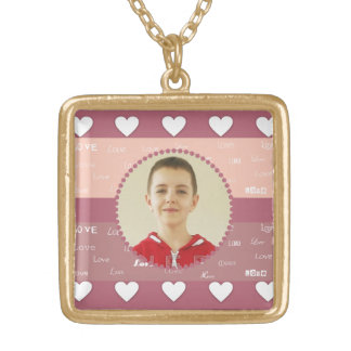 Hearts Personalized Circle Photo Frame Necklace