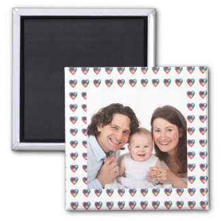 Hearts/Photo 2 Inch Square Magnet
