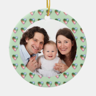 Hearts/Photo Double-Sided Ceramic Round Christmas Ornament