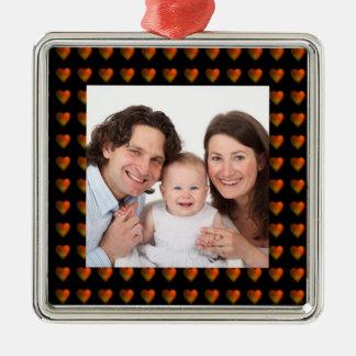 Hearts/Photo Square Metal Christmas Ornament