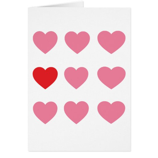 Hearts pink and red Card Cards