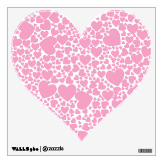 hearts pink decorative wall decal