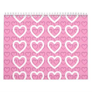 hearts pink wall calendar