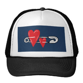 Hearts Pinned Together Trucker Hat