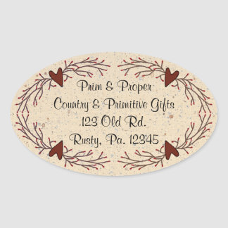 Hearts & Pip Berry Oval Sticker