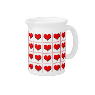 Hearts playing card suit pattern beverage pitcher