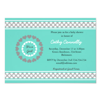 Hearts Polka Dots Blue Baby Shower For Girl Card