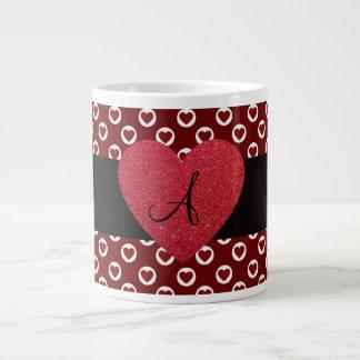 Hearts polka dots monogram extra large mugs