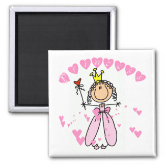 Hearts Princess 2 Inch Square Magnet