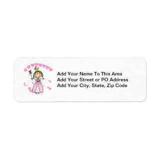 Hearts Princess Return Address Labels