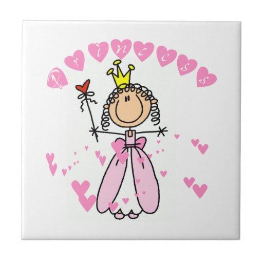 Hearts Princess Small Square Tile