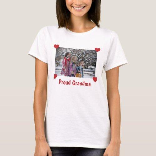 Hearts Proud Grandma Personalize Photo Make Your T_Shirt