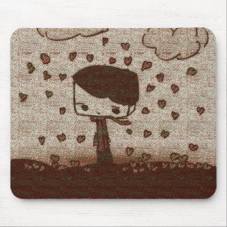 hearts rain mouse pad