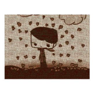 hearts rain postcard