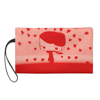 hearts rain wristlet purse