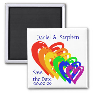 Hearts Rainbow 2 Inch Square Magnet