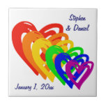 """Hearts Rainbow Ceramic Tile<br><div class=""""desc"""">This rainbow of loving hearts is the perfect gift for the special couple on their wedding day,  as an engagement gift/announcement,  or anniversary gift amongst yourselves. Customize the text to fit your names and date.</div>"""