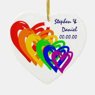 Hearts Rainbow Double-Sided Heart Ceramic Christmas Ornament