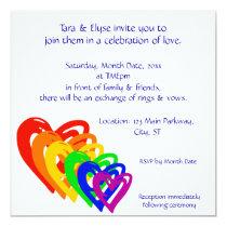 Hearts Rainbow 5.25x5.25 Square Paper Invitation Card
