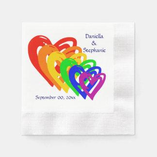 Hearts Rainbow Paper Napkins