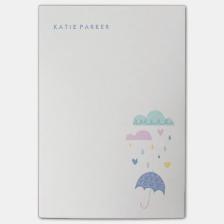 Hearts & Raindrops (Large) - Cobalt Post-it® Notes