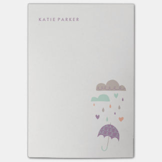 Hearts & Raindrops (Large) - Plum Post-it® Notes