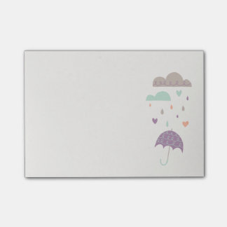 Hearts & Raindrops (Small) - Plum Post-it® Notes